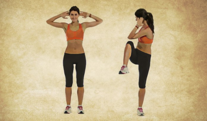 Do Knee To Elbow Twists To Strengthen Your Abs