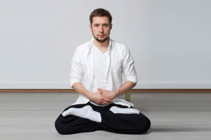 This meditation pose helps to open the third eye chakra