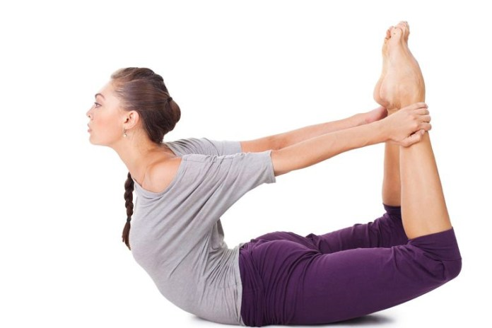 The bow pose helps relieve tight hips