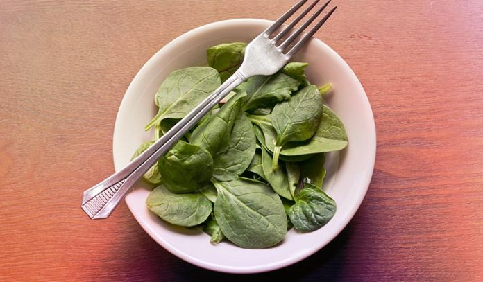 Green leafy vegetables such as spinach and kale are high in iron content.