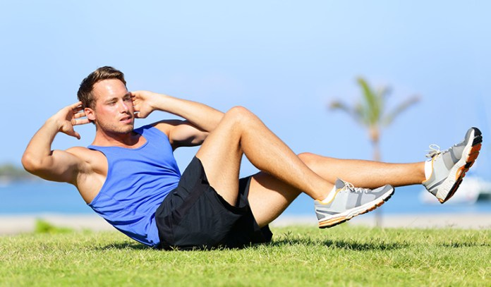 Crossover crunches will help for cross country and/or track
