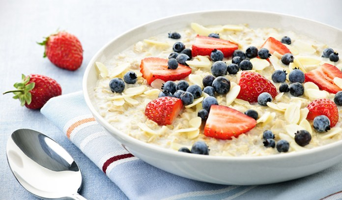 Flavored oatmeal contains a lot of sugar while plain oatmeal is healthy