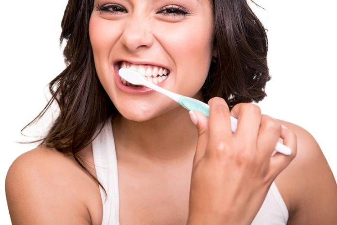 Brushing too hard can damage teeth and hurt the gums.