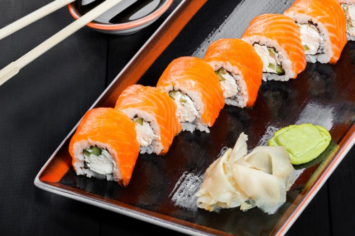 The salmon-cucumber sushi roll is high in omega-3 fatty acids and low in calories, provided you leave out the chili-spiked mayonnaise.