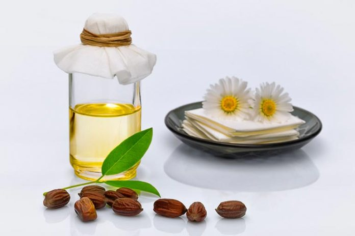 Jojoba oil contains vitamins A and E and helps in treating dark circles