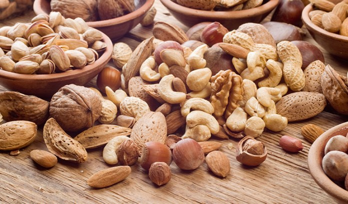 Nuts are rich in polyunsaturated and monounsaturated fats which lower risk of cancer, heart disease, and gall stones