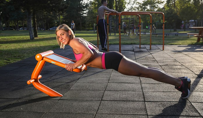 Push ups work on your arms, shoulders, chest, core, and legs