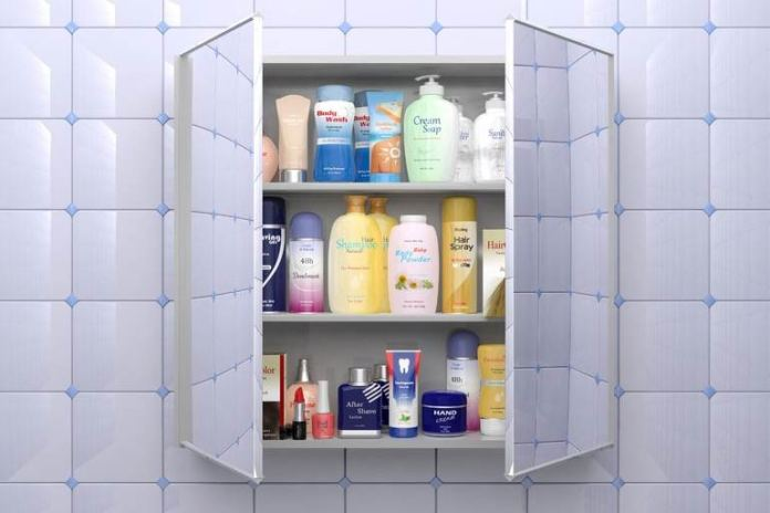 Eliminating unwanted packaging, bottles, and old toothbrushes will help reduce clutter in the bathroom.