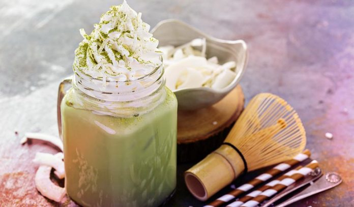 Macha is used with coconut milk and erythritol.