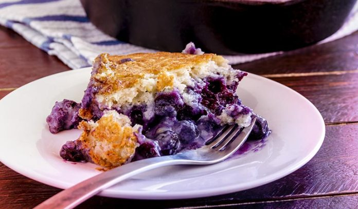 (Blueberries are used in this cobbler with dairy or non-dairy milk