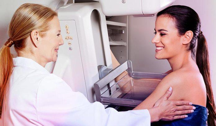 Mammogram determines tumors in breasts.