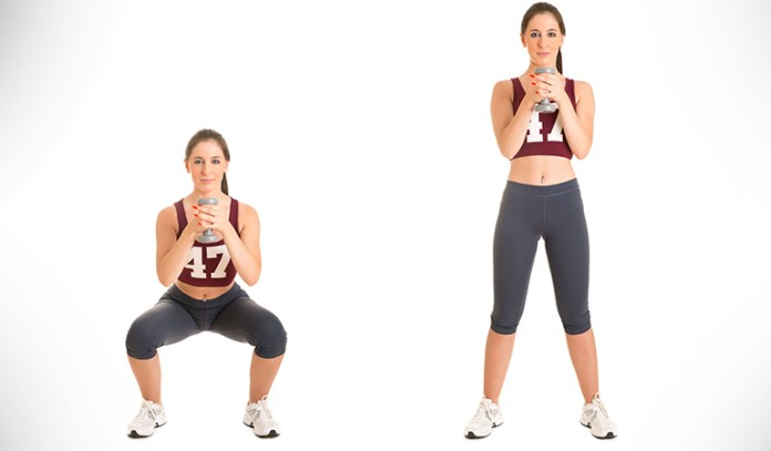 The dumbbell curl kickbacks exercise tones your biceps, triceps, and core