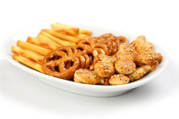 Salty snacks can make you hold water in your body increasing your weight