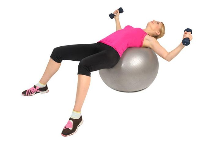 Stability ball presses can increase breast size.