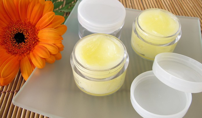 Beeswax, coconut oil, shea butter, honey, and lemon balm essential oil make for a good lip balm.