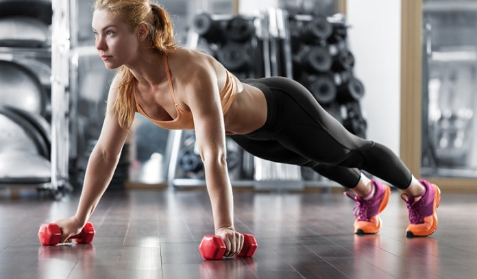 Plank rows strengthen and tone your biceps, triceps, back, and core