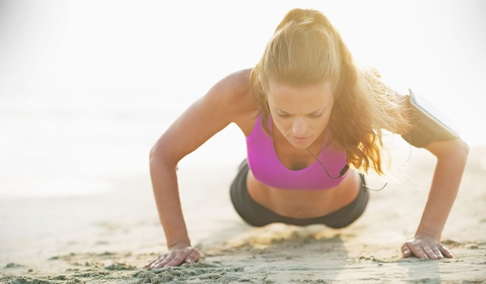 Push ups strengthen the arms and shoulders.