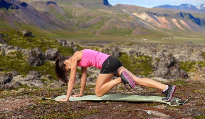 Running mountain climbers are a good full body option.
