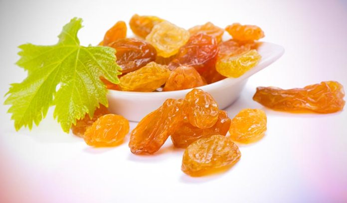Golden raisins are nutritious and made from sultana grapes from Turkey