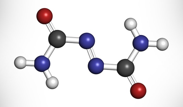 Azodicarbonamide breaks down to give a compound called semicarbazide, which affects reproductive hormone production and causes infertility