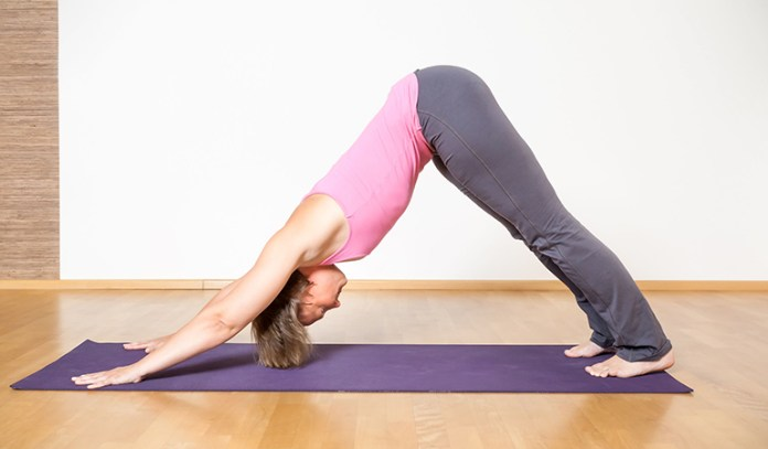 Downward dog relieves spinal pain.