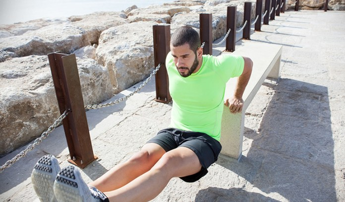 Bench dips strengthen tricep muscles.