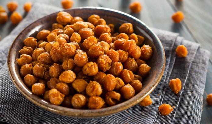 Roasted chickpeas are a light and tasty snack