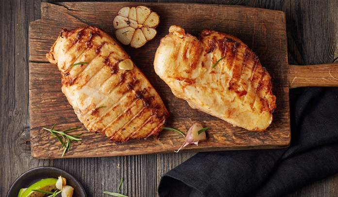 The protein in lean chicken helps burn fat.