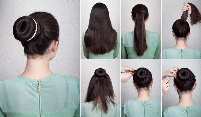 Pulling hair into a bun straightens it.