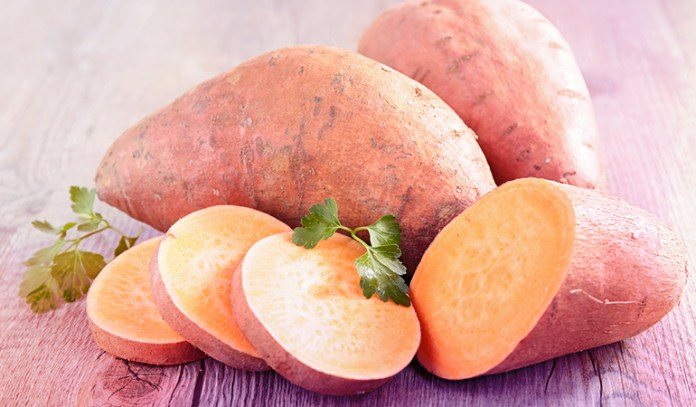 Sweet potatoes are a good source of vitamin A.