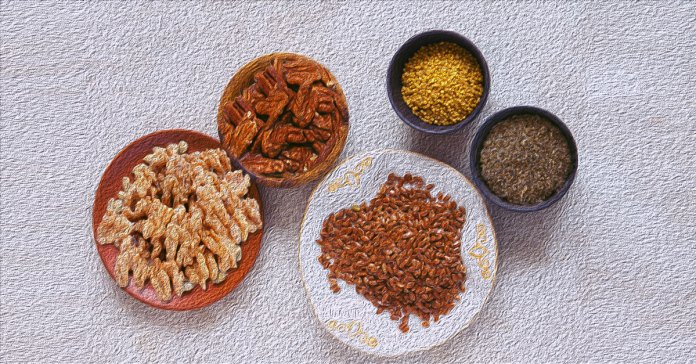 Nuts and seeds are the best source of omega 3 fats alongside fatty fish.