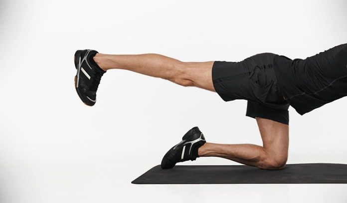 Quadruped hip extensions strengthen the leg and hip muscles.