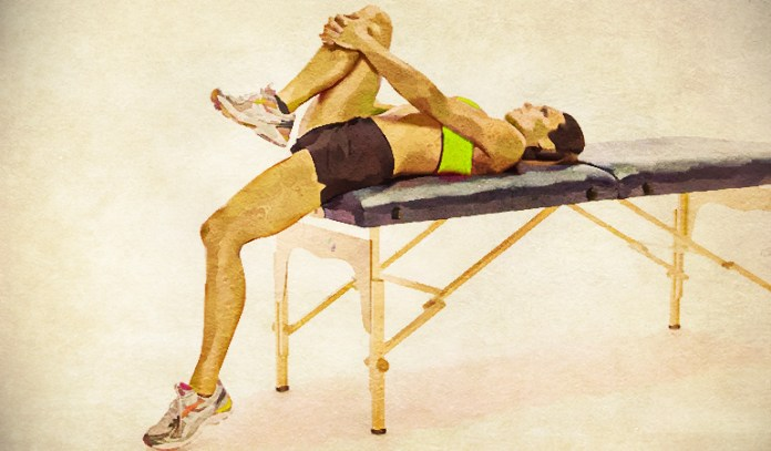 Supine hip flexor stretch eases psoas muscle.