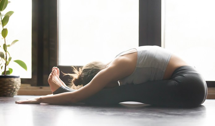 Paschimottasana eases stress, relieves headaches, and calms the brain.