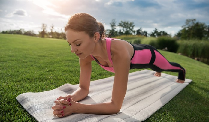 Plank pose strengthens the abdominal muscles.