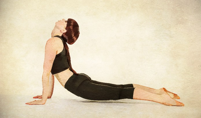 The upward facing dog relieves symptoms of stress and anxiety.