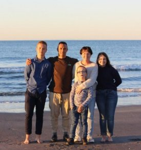 Jennifer and family on the beach