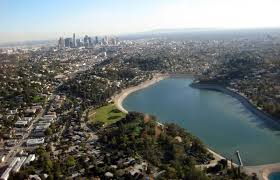 Aerial shot of the Silver Lake reservoir