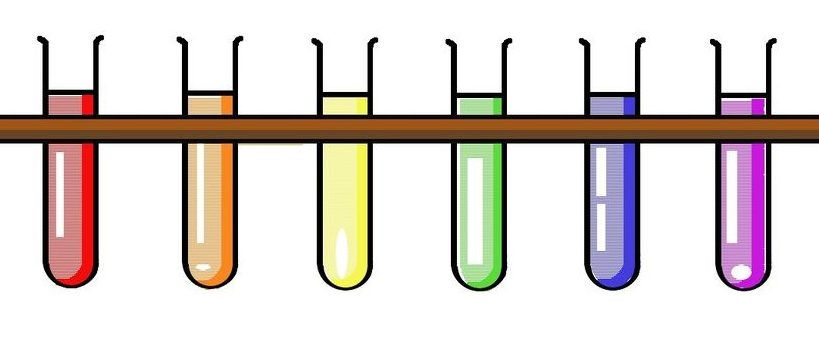 Test tubes with different colored liquids