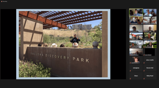 A Zoom call of people looking at a shared image of the Ballona Discovery Park sign