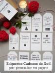 Étiquettes cadeaux de Noël pour personnaliser vos paquets
