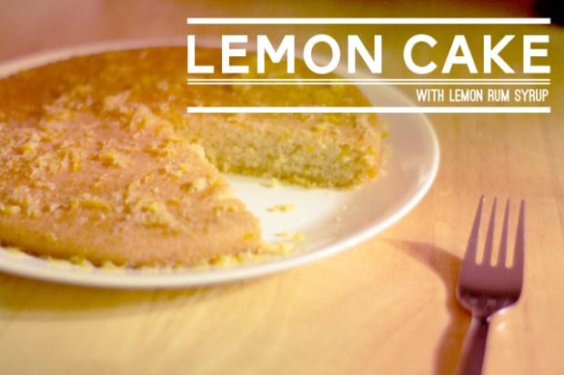 Gluten Free French Lemon Cake with lemon rum syrup