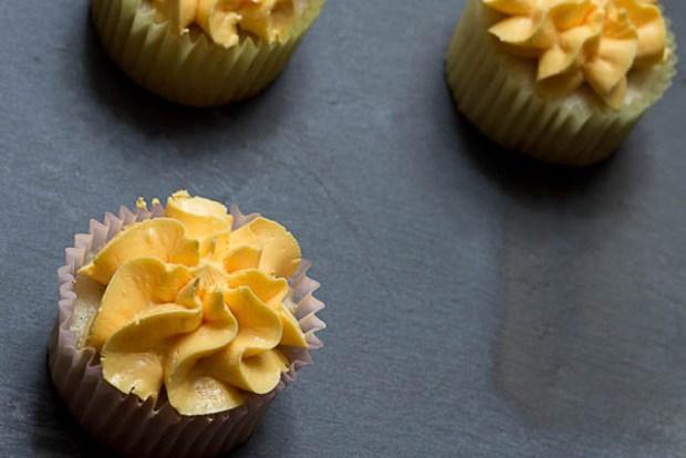 Three Gluten-Free Lemon Raspberry Cupcakes
