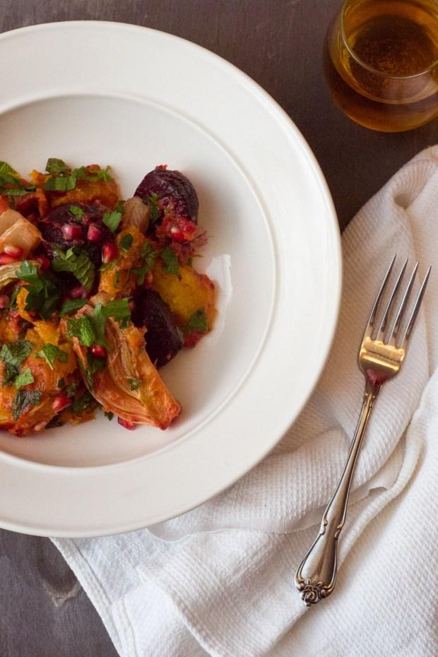 Warm Autumn Salad with Acorn Squash, Beets, Fennel and Pomegranate | Gluten-free, Dairy-Free, Vegan | via FrannyCakes.com