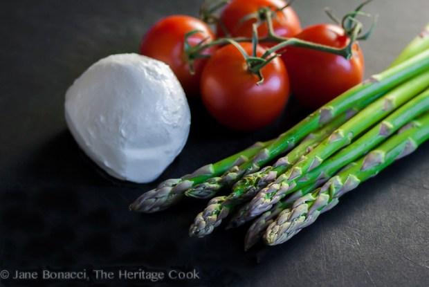 Asparagus, Tomato and Mozzarella Ingredients by Jane Bonacci