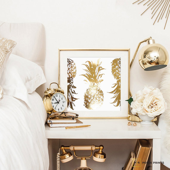 ETSY FAVS  PINEAPPLE HOME DECOR TREND   Curio Design Studio gold foil pineapple wall art