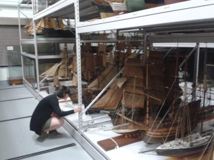 Boat examining - Many thanks to the research library for lettings us into their vault!
