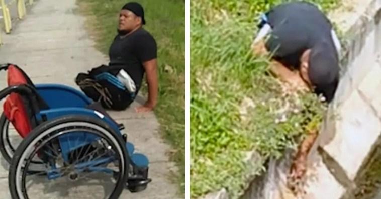 Cadeirante deixa cadeira de rodas para salvar gatinho em perigo (vídeo)