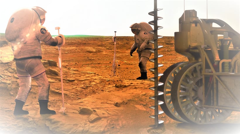animation of a martian base exploring the greenhouse effect.