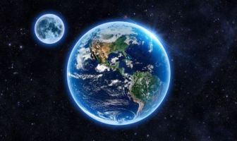 The earth and moon as they appear in space